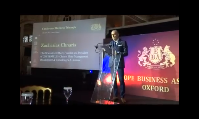 CHC HOTELS Presentation By Chnaris Zacharias At Business Triumph And European Awards, Cannes 6 October 2017