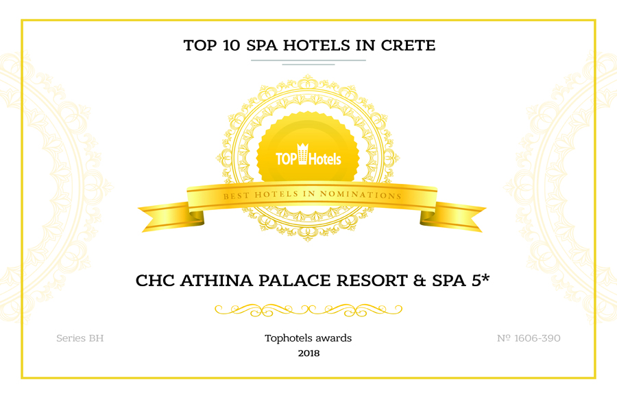 "Certificate 2018 Of Tophotels.ru For ""CHC Athina Palace Resort & Spa"""